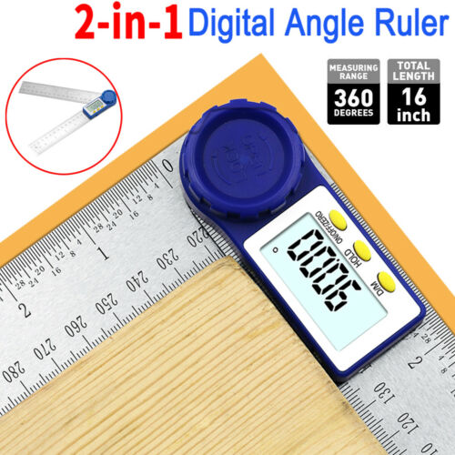 """2-in-1 Angle Finder Measurement Tool 8"""" Digital Protractor Goniometer w/ Battery"""