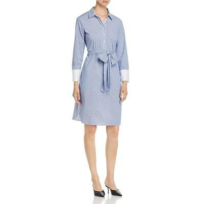 T Tahari Womens Dot Print Tie-Front Long Sleeve Shirtdress BHFO 8034