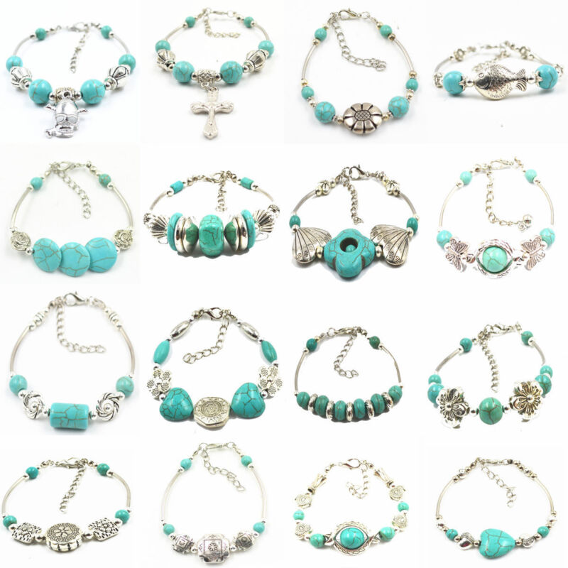 Wholesale Lots 12 Fashion Beauty Tibetan Sliver Cuff Bracelet Bead Adjust Bangle