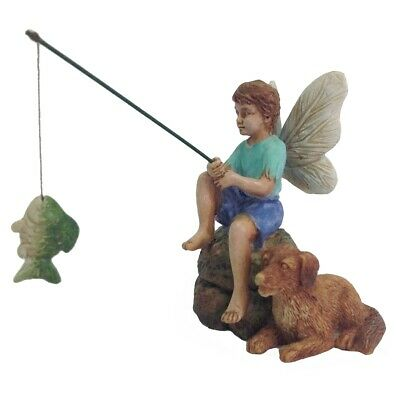 Mini Fishing Fairy Boy & Dog Figurine Garden Accessory Dollhouse Decor Ornament