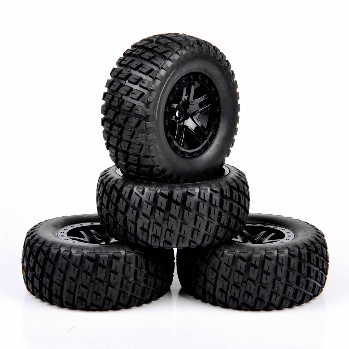 4Pcs 1:10 Short Course Truck Tires/&Wheel 17mm Hex for TRAXXAS SLASH RC Car Tyres