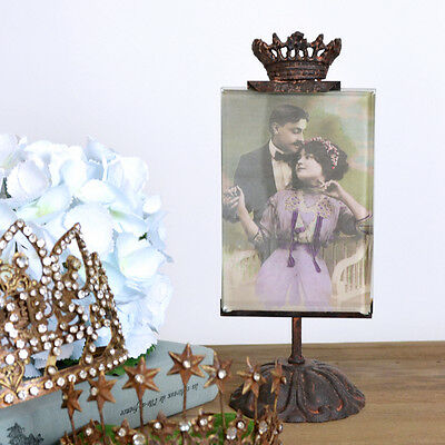 Shabby Chalet Chic Standing Crown Picture Frame Vintage French Style Photo