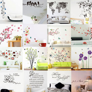 Sticker mural fleur lettre amovible d coration autocollant mur chambre salon ebay for Autocollant decoratif mural