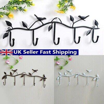UK 5 Hook Iron Retro-Style Decal Wall Bird Coat/Hat/Bag Hanger Bathroom Family