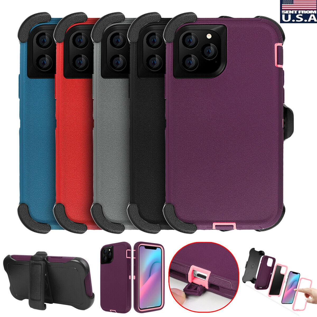 For iPhone 11 Pro Max Hybrid Rugged Heavy Duty Shockproof Ca