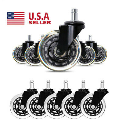 5pcs Heavy Duty 3 Office Chair Caster Rubber Swivel Caster Wheels Replacement