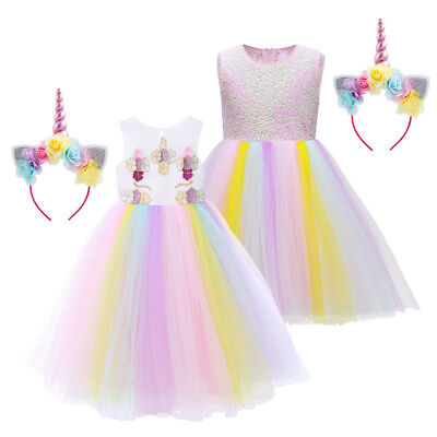 Girls Rainbow Unicorn Dress up Halloween Costume with Headband for Kids - Unicorn Halloween Costume For Kids