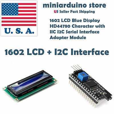 1602 LCD 16x2 HD44780 Character with IIC I2C Serial Interface Adapter Module USA for sale  Shipping to South Africa