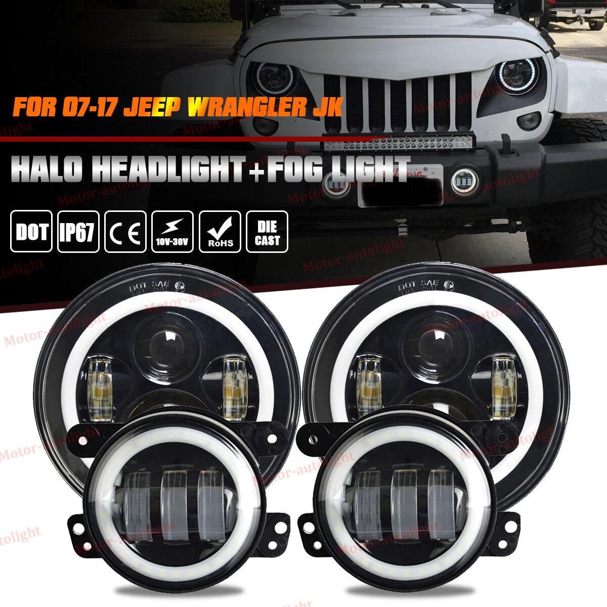Jeep Halo Headlights >> Details About For Jeep Wrangler Jk 7 Led Halo Headlight Fog Lights Combo Kit 07 17 Light Bulb
