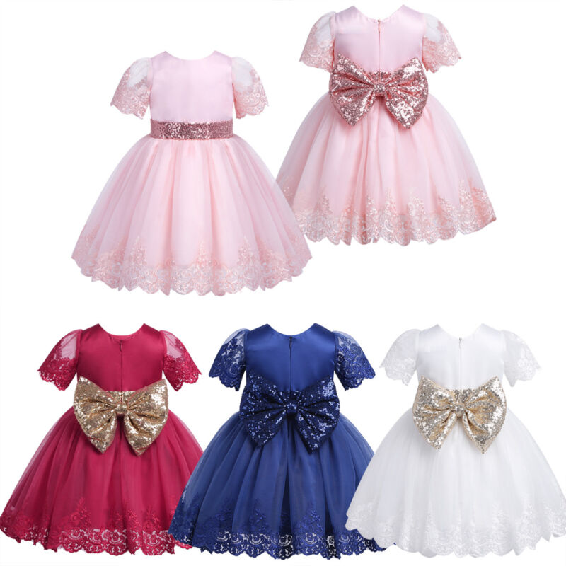 Baby Girl Princess Wedding Party Bowknot Flower Petals Dress Pageant Formal Gown
