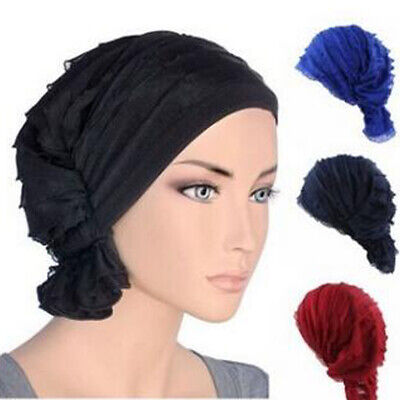 Muslim Women Chiffon Ruffle Chemo Hat Beanie Scarf Bandana Turban Cap Head Wrap - Hat Scarf Wrap