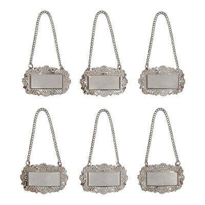 Silver Floral Blank Decanter Labels Plain Liquor Bottle Label Tag Set of 6 Tags](Bottle Tags)