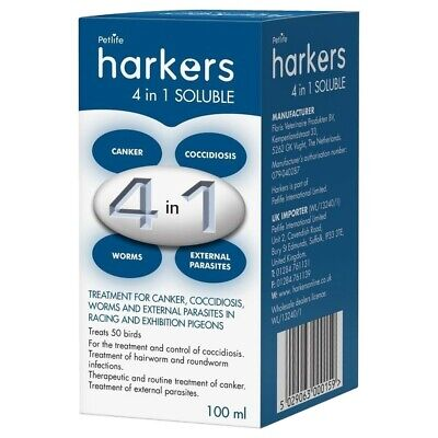 PIGEON TREATEMENT Harkers 4in1 Soluble, 100ML Canker, Coccidiosis, Worms etc