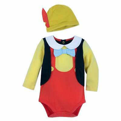 Disney Store Pinocchio Baby Bodysuit Costume Dress Up Halloween Outfit Hat - Baby Pinocchio Costume