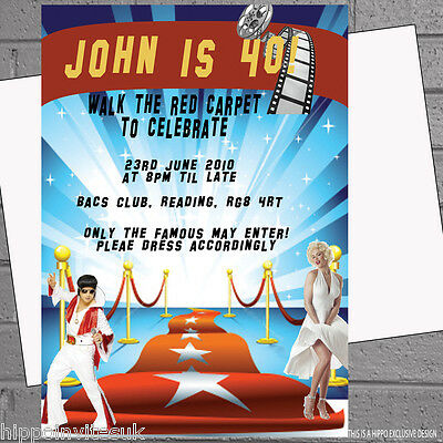 Hollywood Themed Birthday Invitations (Hollywood Red Carpet Themed Birthday Party Invitations x 12+envs)