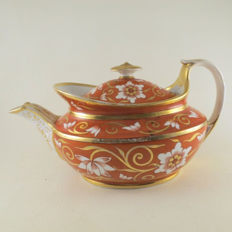 c1805 SPODE Teapot Unmarked Pattern 878 or 1020 Orange / Rust Florals