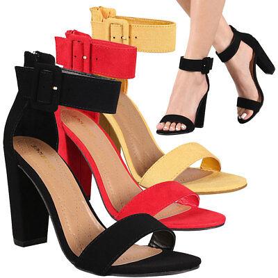 NEW Women's Classic Open Toe Ankle Strap Pump Sandal Shoe Block Chunky High Heel Buckle High Heel Pump