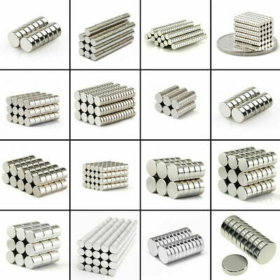 50 100 Pcs Round Disc Block Magnets Rare Earth Neodymium N52 N48 N42 All Size