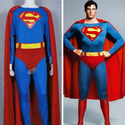 Red Jumpsuit Halloween Costume (Superman Superhero Male Christopher Reeve Red Jumpsuit Cosplay Costume)