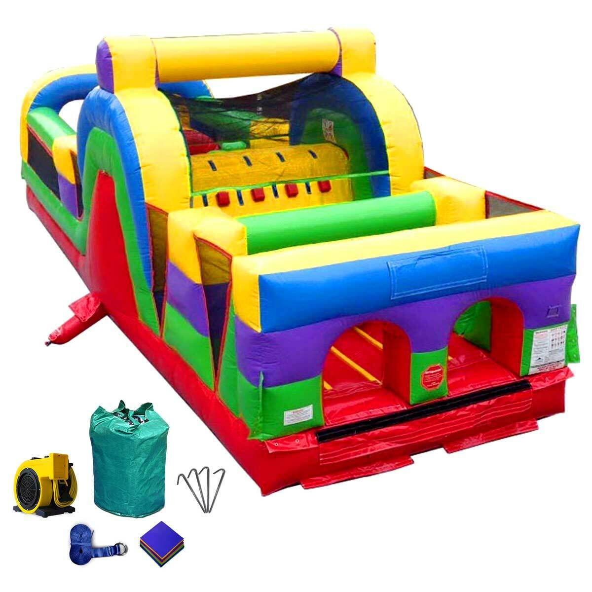 commercial inflatable bounce house retro obstacle course