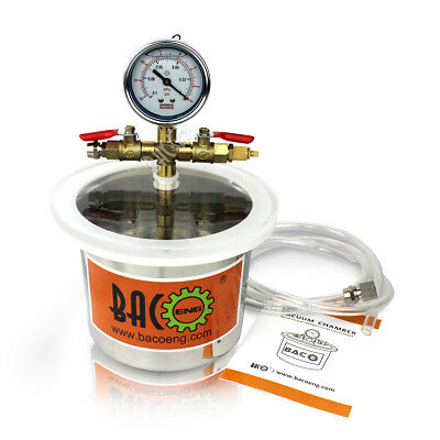 Bacoeng 2 Quart 5.4od X 4.4h Stainless Steel Mini Degassing Vacuum Chamber