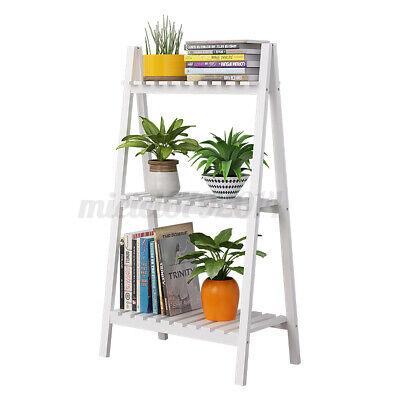 Foldable Wood Flower Stand Ladder Shelf Plant Pot Holder Display Rack Indoor