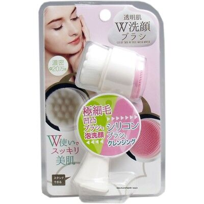 JAPAN COGIT 2WAY FACE CLEANSING BRUSH POLYESTER BRISTLE/SILICONE SKIN BEAUTY