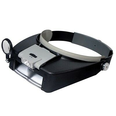 - 2 LED Light Dual Lens Magnifier Loupe Glasses Head Band Watchmaker Jewelers Tool