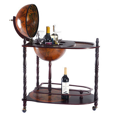 "Wood Globe Wine Bar Stand 34"" H 16th Century Italian Rack Liquor Bottle Shelf"