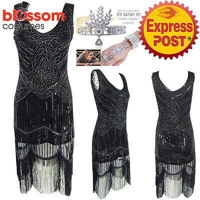 K298 Ladies 1920s Roaring 20s Flapper Costume Sequin Pearls Outfit Fancy Dress