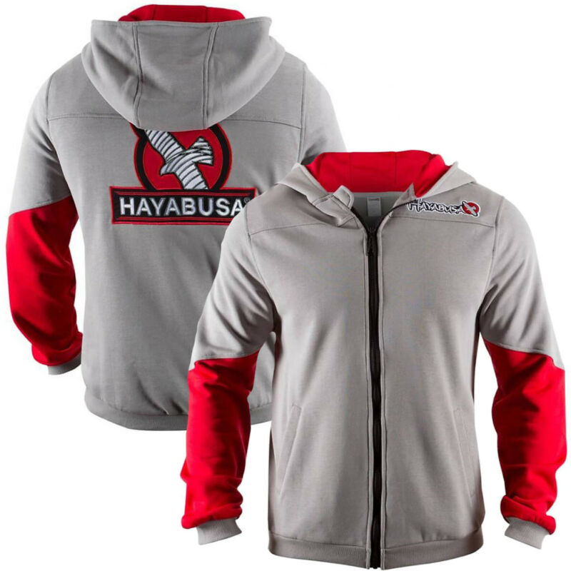 Hayabusa Wingback Classic Fit Zip-Up Hoodie - Gray/Red-boxing mma sweatshirt