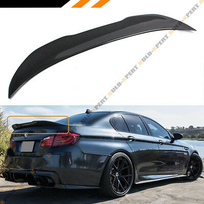 FOR 2011-17 BMW F10 5 Series & M5 Carbon Fiber High Kick Big Trunk Spoiler Wing