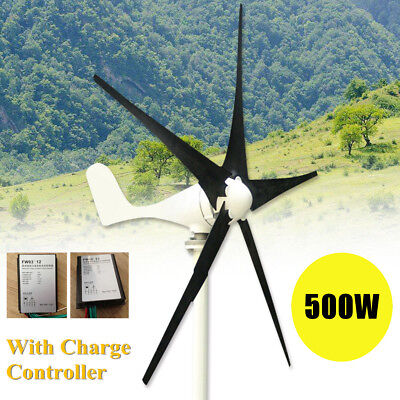 Max 500W Wind Turbine Generator DC 12V 5 Blade With Windmill Charge Controller