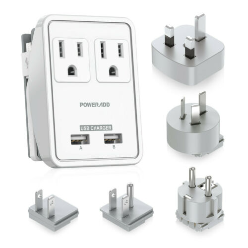 Poweradd 2-Outlet Surge Protector Power Strip with 2 USB Charging Port Charger