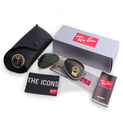 Ray-Ban RB3025 L0205 Classic Aviator Gold Frame Green Lens G-15 58mm (Ray Ban Aviator Classic Gold)