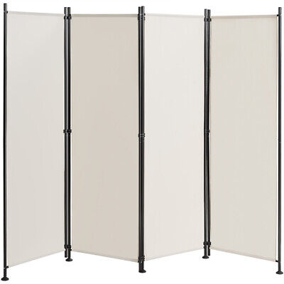 4-Panel Room Divider Folding Privacy Screen w/Steel Frame De