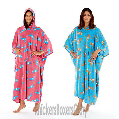 (Ladies Horse Print Fleece Poncho Hooded Lounger Dressing Gown/Robe Blue/Pink NEW)