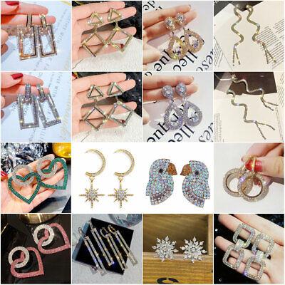 Fashion Luxury Zircon Long Tassels Round Women Crystal Geometric Hoop Earrings