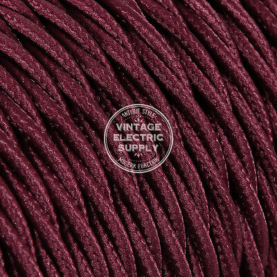 Burgundy Twisted Cloth Covered Electrical Wire - Braided Rayon Fabric Wire