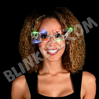 NEW YEARS EVE 2017 LIGHT UP LED SUNGLASSES - PARTY RAVE FUN! - Led New Years 2017