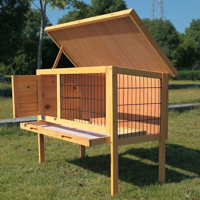 36'' Rabbit Wood Hutch Poultry Cage Waterproof Wooden Chicken Coop Hen House