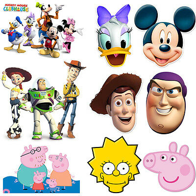 Cartoon Disney Characters Kids Party Fun Face Mask Childrens Birthday Card Masks ()
