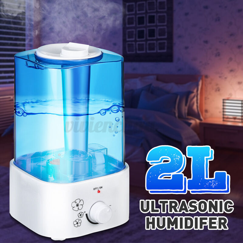 2L Ultrasonic Humidifier Air Purifies Aroma Oil Diffuser Quiet Bedroom Office