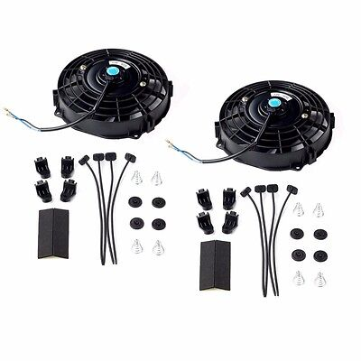 "2x 7"" inch Universal Slim Fan Push Pull Electric Radiator Cooling 12V Mount Kit"