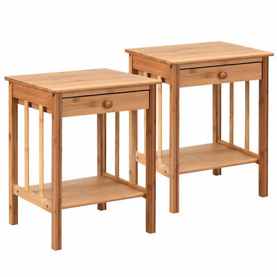 2PCS Bamboo Nightstand End Table Drawer Storage Shelf Home Side Table