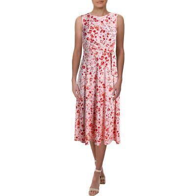Lauren Ralph Lauren Womens Pauldina Fidaline Pink Floral Midi Dress 2 BHFO 8663