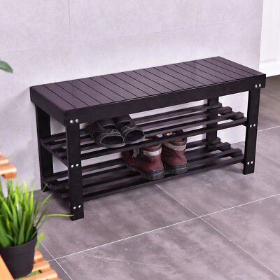 Modern Shoe Bench Entryway Storage Bamboo Coffee Shelf Rack Hallway Furniture