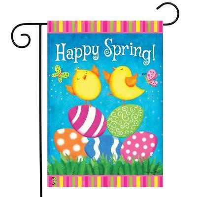 "Happy Spring Chicks Garden Flag Easter Eggs 12.5"" x 18"" Bria"