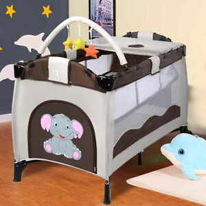 Travel Cot Bed Play Pen Infant Baby Child Bassinet Playpen Entryway Playpen