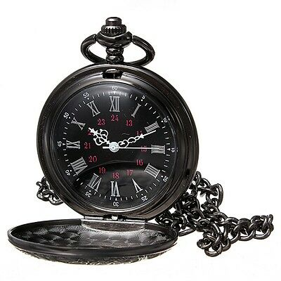 Kyпить Retro Vintage Antique Steampunk Black Quartz Necklace Pendant Pocket Watch Gift на еВаy.соm
